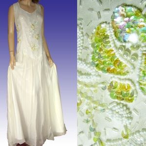 New EVENING WEDDING GOWN OffWhite Beads Sequins 24